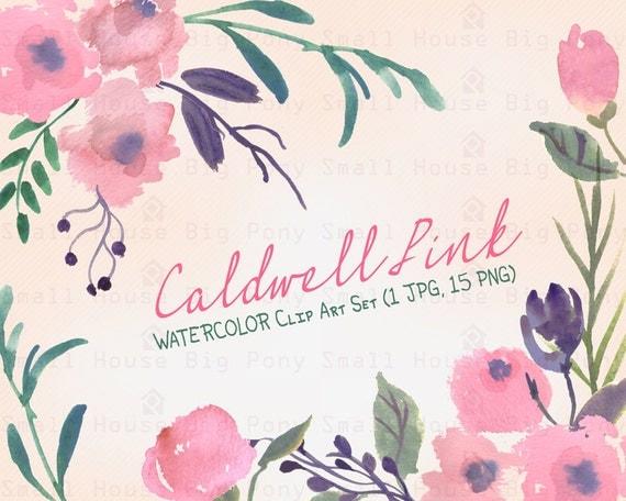 Watercolour Floral Clipart. Handmade, watercolour clipart, wedding diy elements, flowers - Caldwell Pink