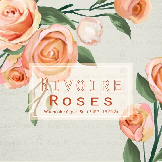 Watercolour Floral Art Collection - Hand Painted Clip Art - Rivoire Roses - 13 PNG files
