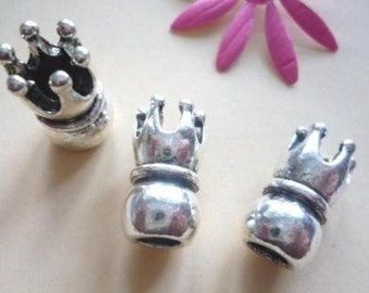Beads, Metall, antique-silver-colour, CROWN