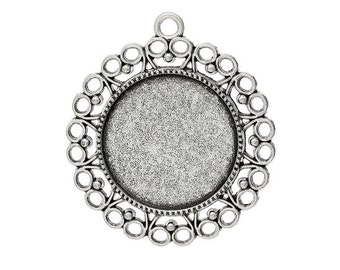 Cabochon-mount, antique silver, for 25 mm stones