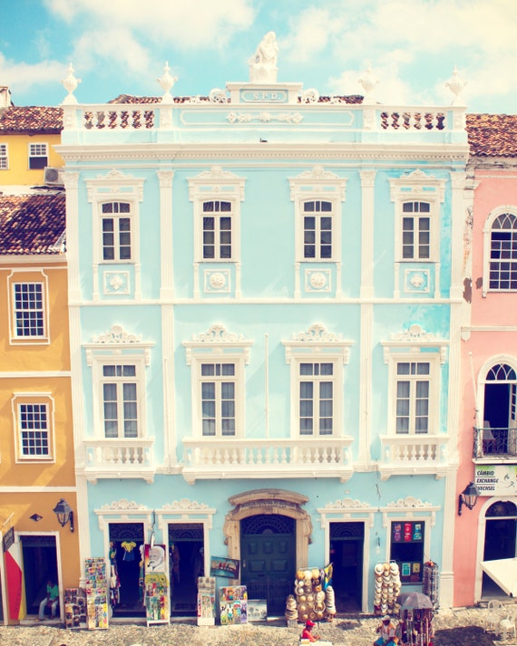 Brazil Photography, Brazilian Wall Art, Salvador Bahia Painted Houses, Colorful Decor