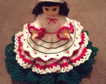 "Handmade 13 "" Crochet Doll ""Candy Cane"" Bed Doll"