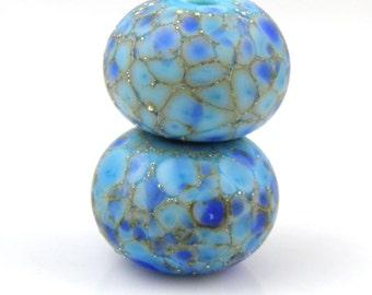 Blue Destiny Earring Pair SRA Lampwork Handmade Artisan Glass Donut/Round Beads Made to Order Pair of 2 8x12mm