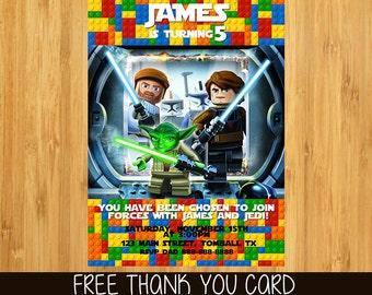 Lego Star Wars Invitation, Lego Star Wars Invite, Lego Star Wars Printable Customized Card Invitations Party- free thank you card
