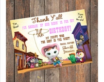 Sheriff Callie's Wild West Birthday Thank You Card (Pink) - Personalized with your Info - Digital File, Printable