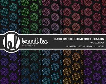 Dark Ombre Geometric Hexagon Digital Paper - Digital Download - 300 DPI - 12x12 Inches - PNG