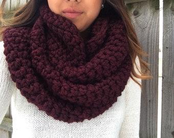 Super Chunky Crochet Infinity Scarf | the minnesota // merlot