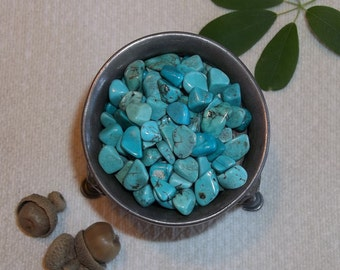 Turquonite Stone Chips- Set of Thirteen Polished Turquoise Mini Crystals