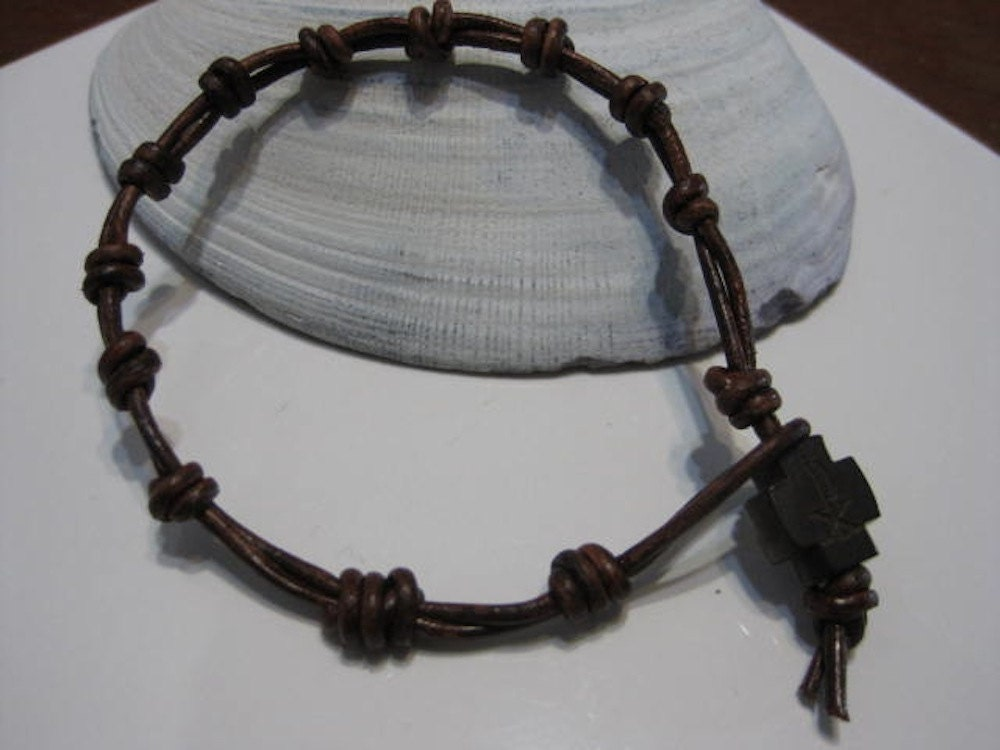 Knotted Rosary Bracelet Handmade Leather Rosary Teens Kids