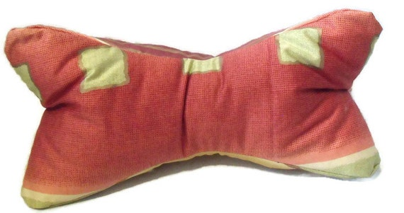 "lumbar pillow, lavender neck cushion, bone shaped pillow, relaxing aromatherapy scented pamper pillow, 16"" long , terracotta, gold and plum"