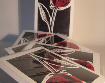 Red Rose, Note / Greetings Card. Blank Inside. With Envelope.
