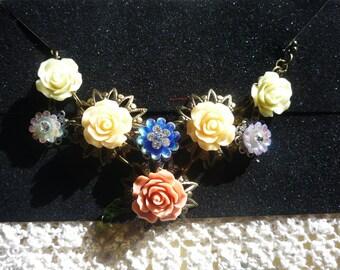 Vintage Rose Floral Necklace