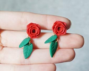 Rose with Leaves Earring Handmade