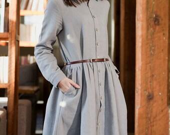 Women Grey Shirt Long sleeves shirt Spring Tops Plus size tops Petite Shirt Cotton Handmade buttoned shirt dress (WT11153)