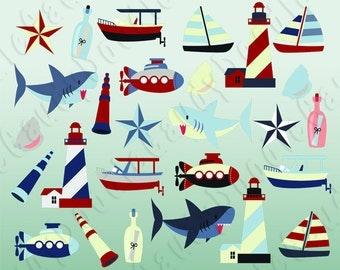 Nautical Digital Clipart Vector - Lighthouse, Boat, Shark, Submarine, Speedboat, Seashell