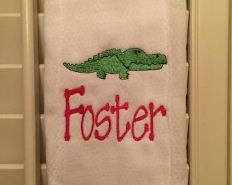Adorable Alligator Burp Cloth with Name