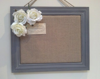 Message Board, Cork Board, Burlap Bulletin Board, Framed Cork Bulletin Board, Pin Board in Blue Gray Frame with Monogram and Roses