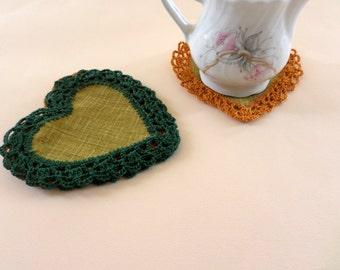Heart Coasters, Fabric Coasters, Set Of Coasters, Valentine's Day, Mug Mats, Glass Mats, Fabric Doilies, Valentine Decor