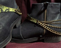 2 Snake boots straps\Leather Chain strap\ Handmade