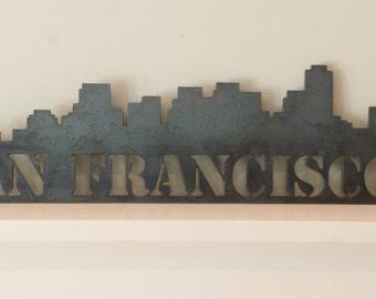 "San Francisco skyline, metal art work, skyscrapers, modern, 24x7"", Handmade"