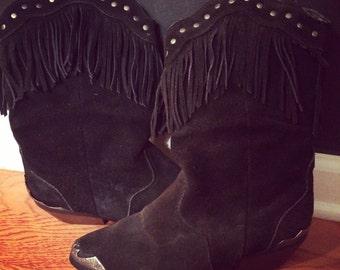 Vintage Black Fringe & Studded Suede Boots  Size: 8