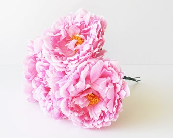 """5 Silk Peony Artificial Flowers Pink Yellow Center 5.9"""" Peonies Flower Floral Wedding Flowers Accessories Flower Supplies Faux Fake"""