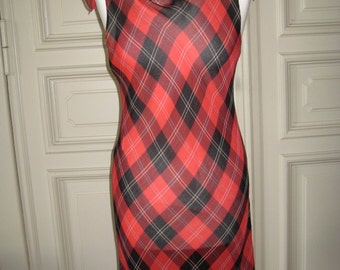 Yamamoto summer dress # red / black check # size S