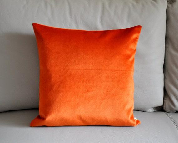 Items similar to Orange velvet pillow cover orange red cushion cover velvet decorative pillow ...