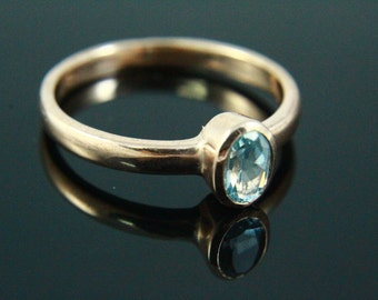 Natural Blue Topaz Ring, Topaz Jewelry, Blue Topaz Ring, Gemstone Ring, Simple Rings Rose  Gold Plated Gem Stone Jewelry