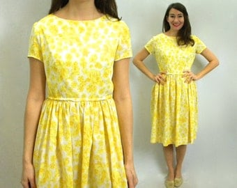 Vintage 60s Yellow Print Day Dress, Short Sleeve Floral Summer Dress, Small