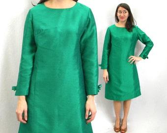 60s Emerald Green Silk Evening Dress | Green Striped Party Dress | Richard Frontman | Medium