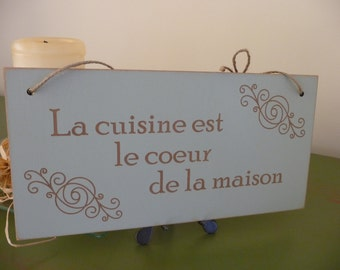 French Kitchen Sign, La cuisine... Sign, French Wall Decor, Wooden Phrase Sign, Kitchen Plaque