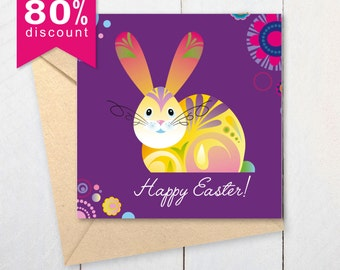 Bunny Easter Card | Easter Printable  Card | Happy Easter! |