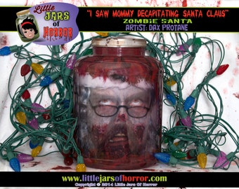 Santa Zombie - Christmas Head In Jar Decor/Gift Idea for Walking Dead, Horror, Sci-Fi, Comic, Halloween, Pop Culture fans