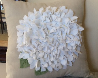 White Felt Hydrangea Pillow Cover, Spring Flower pillow, Wedding Pillow, Summer Cushion, Sofa Accent Pillow, White Pillow, Natural Pillow