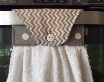 Kitchen Towel, Hand Towel, Terry Cloth Towel, Gray Towel, White Cloth, Hanging Towel, Tea Towel, Hand Dryer