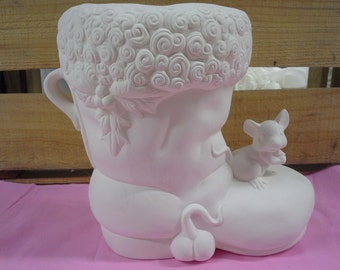 DIY-Ready to Paint Ceramics, Santa Boot w/ Mice, Christmas,Holidays, Decor,Planter
