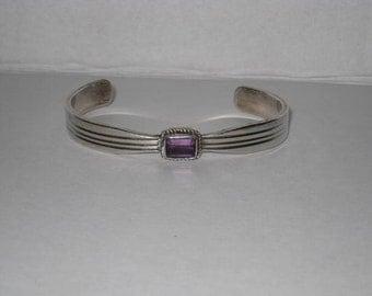 Paul Livingston Navajo Sterling Amethyst Cuff Bracelet Signed