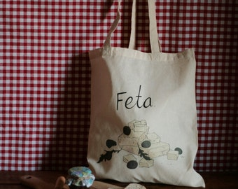 Feta - 4oz Cotton Tote Bag with Cheese Illustration