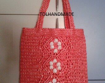 Fait main au crochet sac, orange, sac fourre-tout, sac Shopping TOL - 9