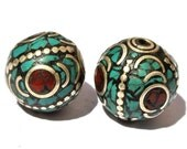 2Pc Nepalese Tibetan Inlaid Turquoise n Coral Beads, Handmade Nepalese Beads Nepal beads Tibetan Beads Tibet beads Tribal Beads (NPB04)
