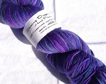 Sleeping Dragon Yarns Hand Painted Superwash Merino Wool Sock Yarn Color Purple Night