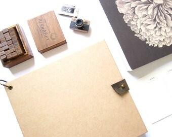"9.6 x 8.6"" // Light Brown Vintage Kraft Scrapbook Album 。 Blank Scrapbook 。 Baby Scrapbook Album 。 Wedding Guest Book 。 Polaroid Guest Book"