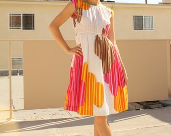 Bold Colorful 60s Print Vintage Dress