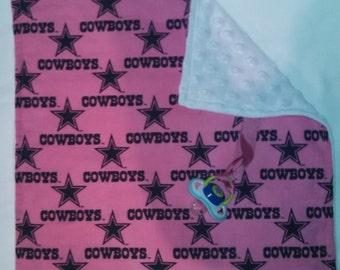 Pink Dallas Cowboys Binky Blanket