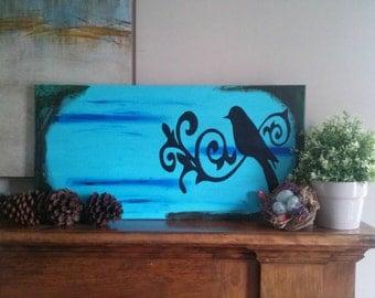 Painted Canvas Art, Bird Artwork On Canvas, Blue Wall Art