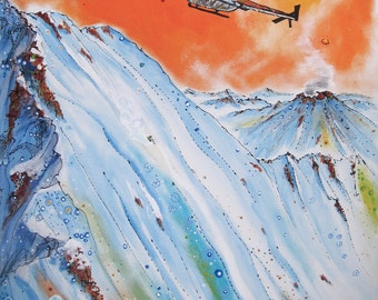 Tordrillo Mountain Lodge Alaska - Signed GIclee in a Mat
