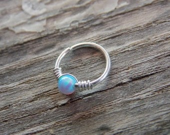 Silver Cartilage Earring, tiny opal hoop, sterling silver cartilage Hoop Earrings, tiny hoops
