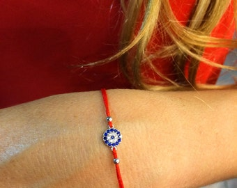 Red Bracelet • Red String Bracelet With Eye • Good Luck And Protection Gift For Her