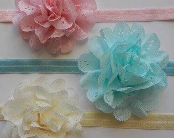 Eyelet Flower Headband, Eyelet Flower Hair Clip, Pink Eyelet Flower, Aqua Eyelet Flower, Cream Eyelet Flower, Easter Headband, Easter Bow